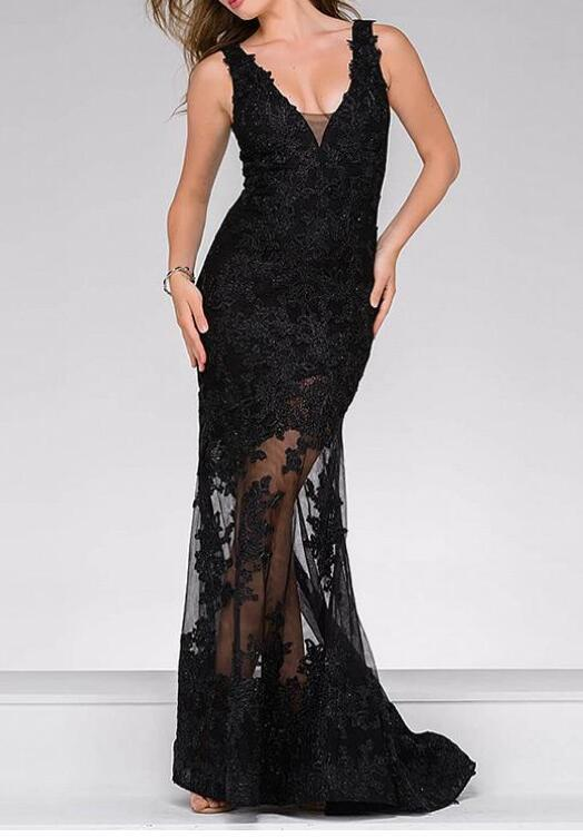 Romantic Tulle V-neck Neckline Mermaid Formal Dresses With Beaded Lace Appliques