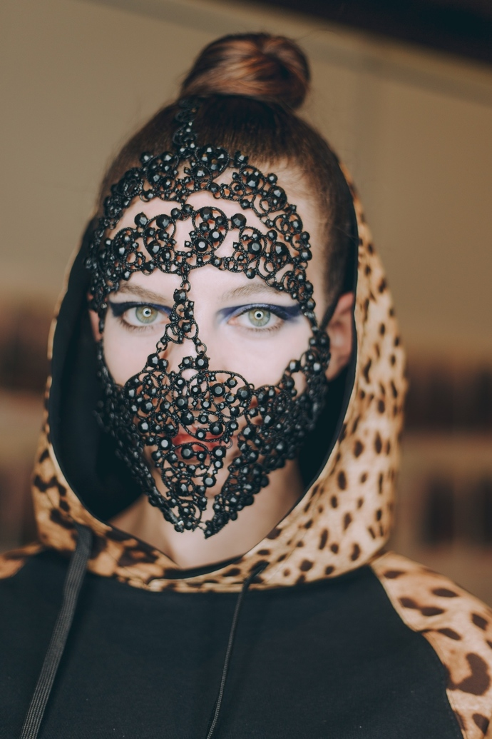 Full Face Mask Black Lace, Face Accessory