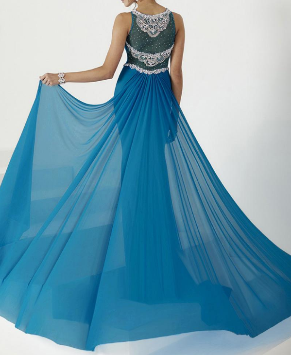 Formal Dresses With Beads & Rhinestones Eye-catching Tulle & Chiffon Bateau