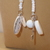 Scarf necklace - White - Long - Key and Feather charms