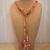 Scarf necklace - Orange - Long - Heart, Scissor and Feather charms