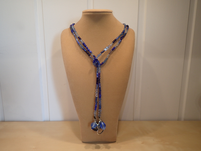 Scarf necklace - Blue - Long - Hearts and Coin charms