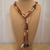 Scarf necklace - Brown - Long - G-Key and Hearts charms