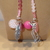 Scarf necklace - Pink - Long - Cat and Feather charms