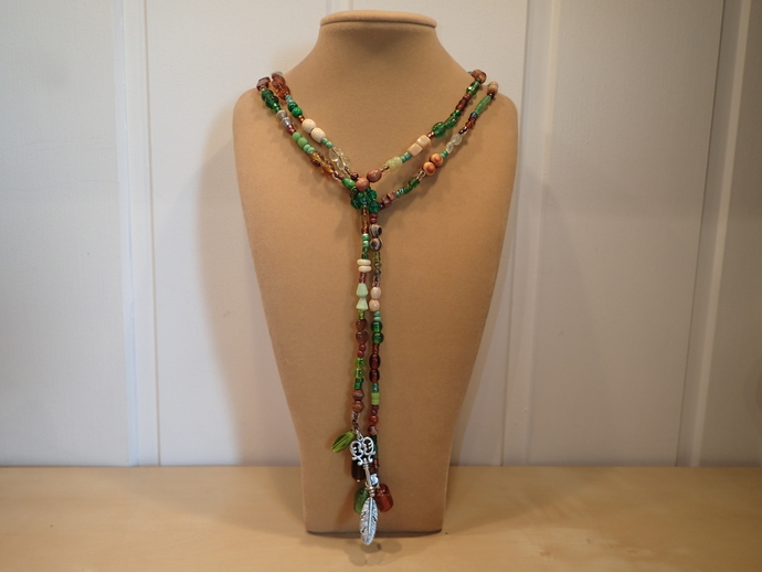 Scarf necklace - Green and Brown - Long - Feather and Key charm