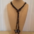 Scarf necklace - Black - Long - Hearts and Key with bling and wings charms