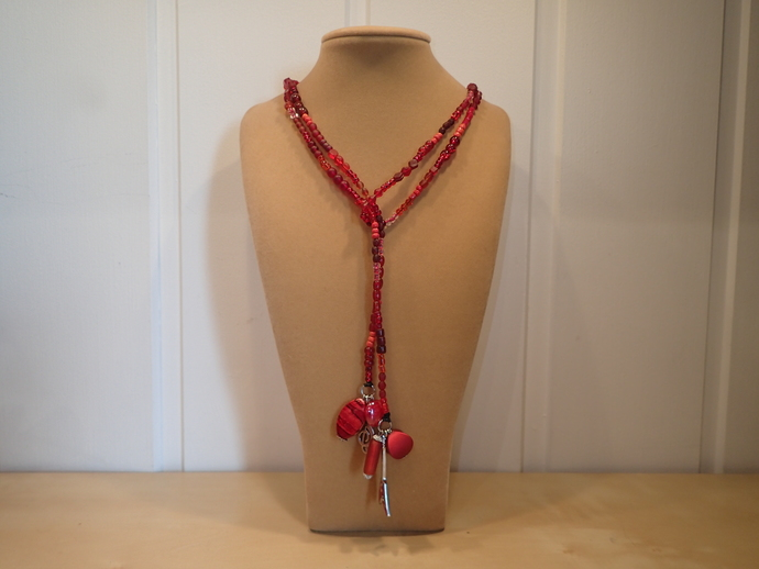 Scarf necklace - Red - Long - Guitar and G-Key charms