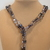 Scarf necklace - Grey - Long - Feather and Key charm
