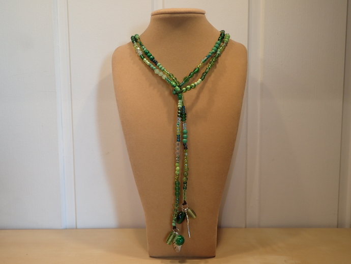 Scarf necklace - Green - Long - Feather and Key charm