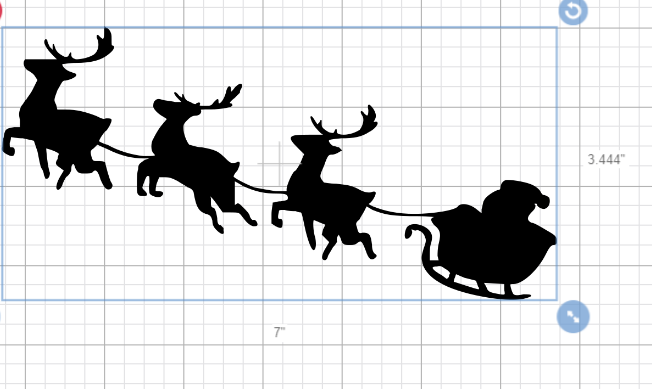 Santa Claus Sleigh with Reindeer Decal / Sticker / D.I.Y Project / Christmas /