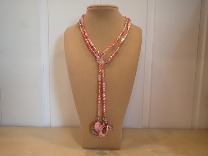 Scarf necklace - Pink / Apricot - Short - Arrow, Flower and Clock charms