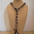 Scarf necklace - Grey - Short - Feather and Key charms