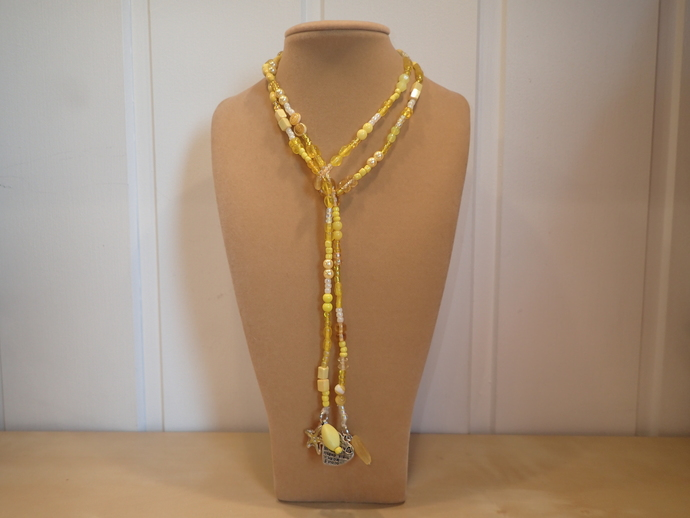 Scarf necklace - Yellow - Short - Starfish and Heart charms