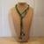 Scarf necklace - Green - Short - Key charm