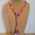 Scarf necklace - Pink - Short - Hearts and star charms