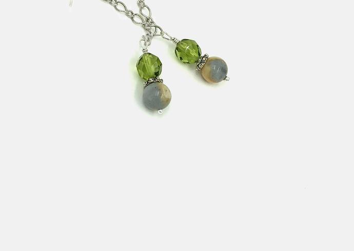 Gray and Green Chain Drop Earrings