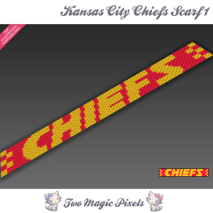 Kansas City Chiefs Scarf 1 pattern; graph; pdf download; C2C row-by-row counts