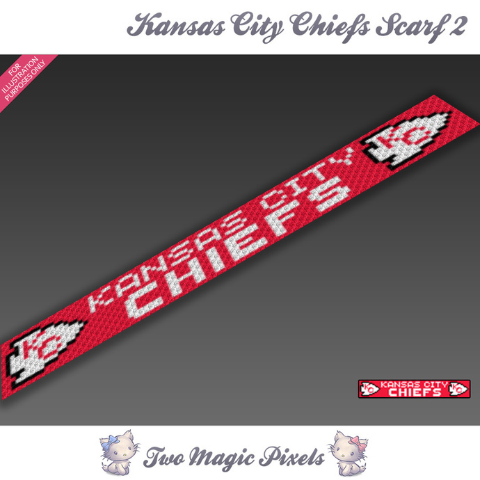 Kansas City Chiefs Scarf 2 pattern; graph; pdf download; C2C row-by-row counts