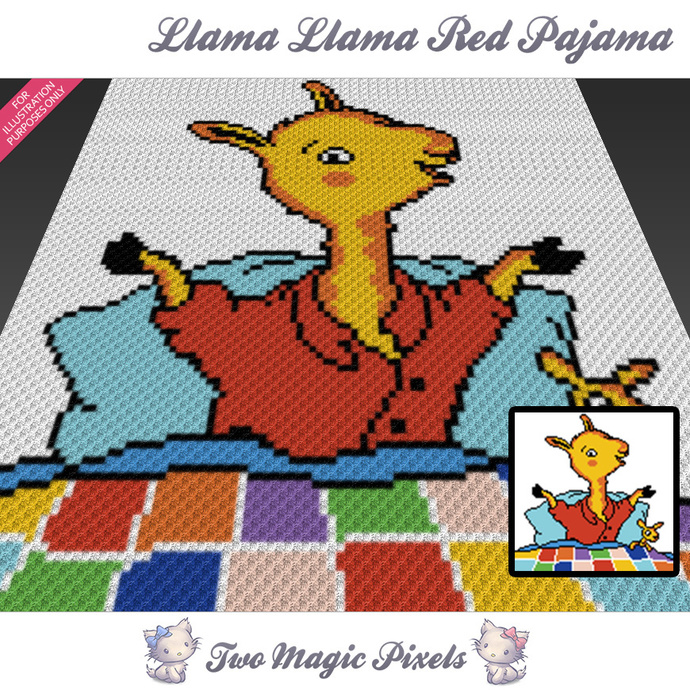 Llama Llama Red Pajama crochet blanket pattern; c2c, cross stitch graph; pdf