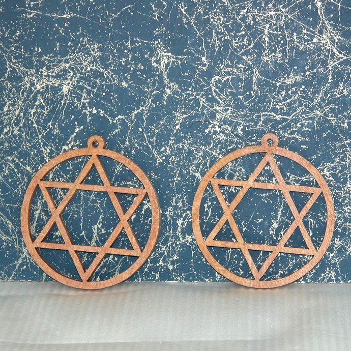 2 Star Shaped Wooden Ornaments - Free Shipping