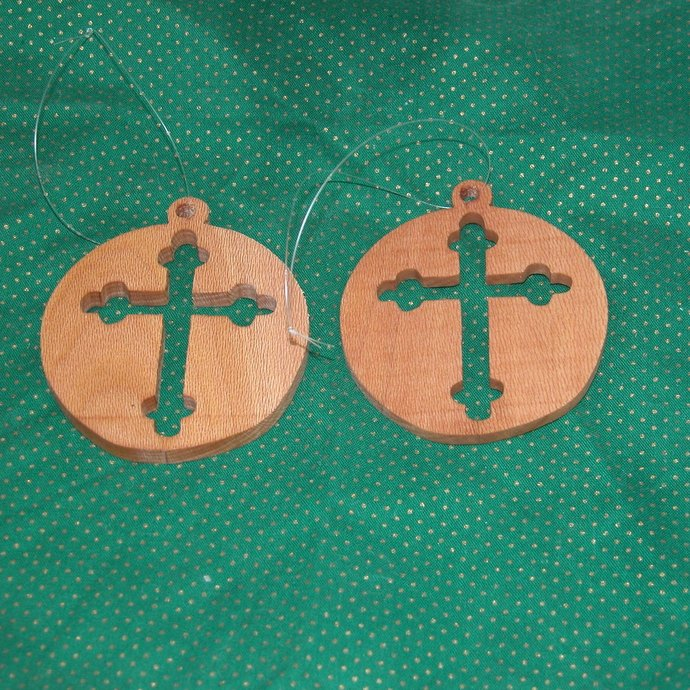 Wooden Cross Ornaments for your Tree - Free Shipping