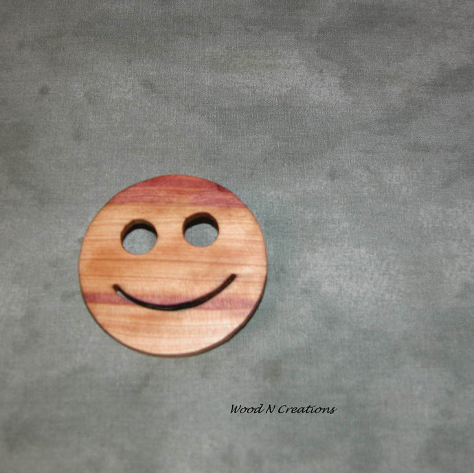 Wooden Smile Brooch - Free Shipping