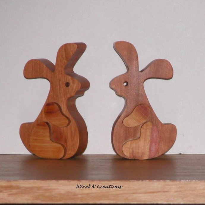 Two Wooden Rabbits - Free Shipping
