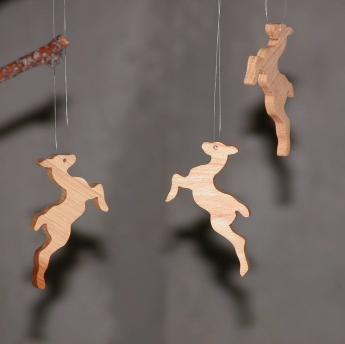 89643f841 Christmas Holiday Ornaments - Hanging Tree Ornaments - Flying Reindeer  Ornaments