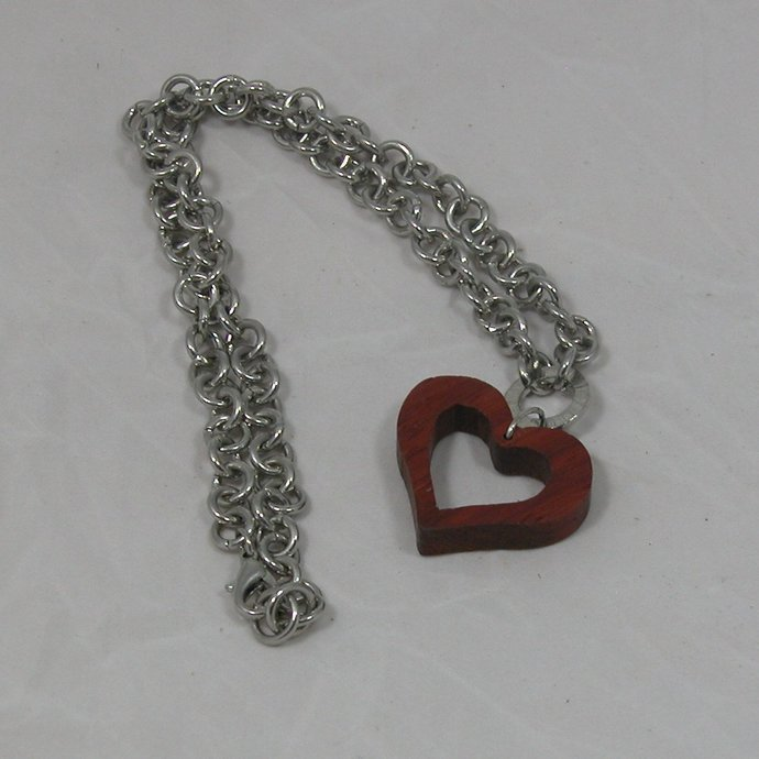 Necklace Open Heart Pendant with Rich Reddish Brown Color and Chunky Chain -