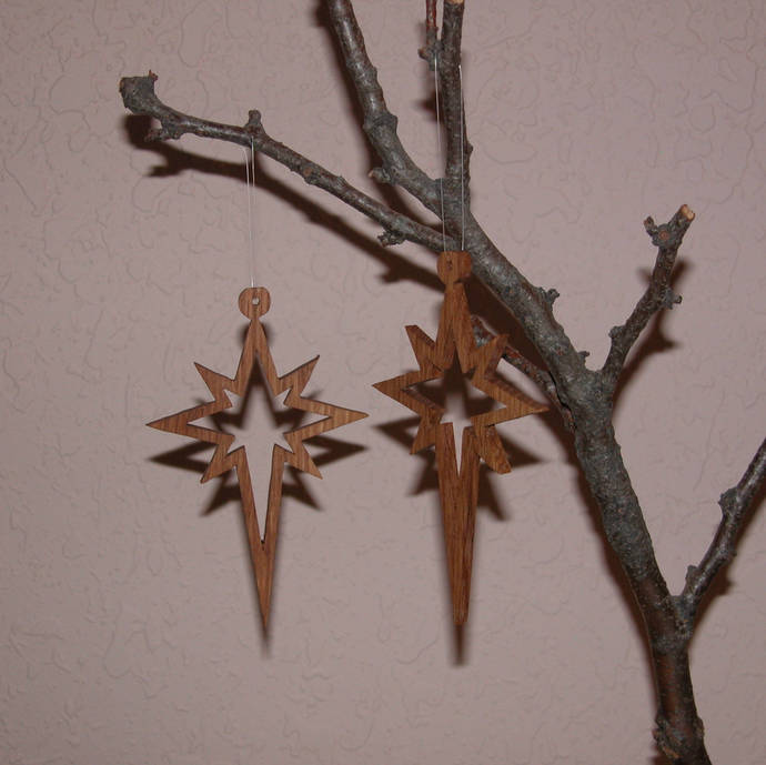 Star Ornaments - 2 Wood Christmas Ornaments - Free Shipping