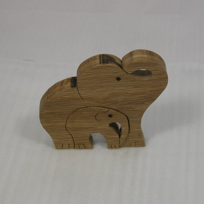 Two Elephants - Wooden Animal Decor - Elephants for Home or Office - Free