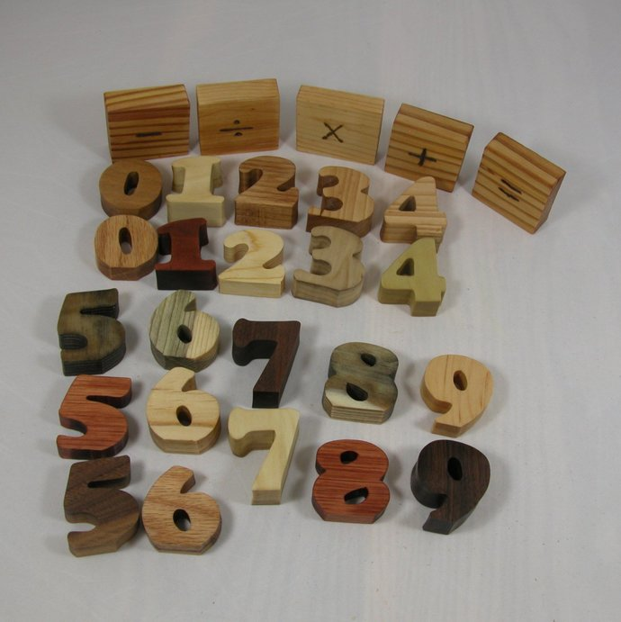 Toy Numbers - Math Set - Wooden Child's Decor - Educational Toys - Free Shipping
