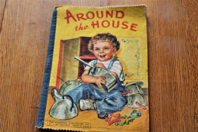 "Vintage cloth washable book ""AROUND the HOUSE"""