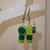 LEGO earrings - Dangling - Green and Blue - Short