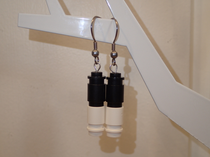 LEGO earrings - Dangling - Black and White