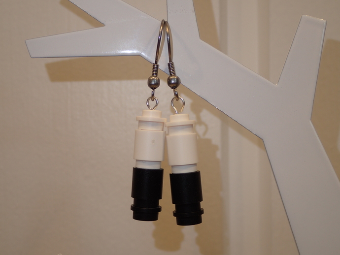 LEGO earrings - Dangling - White and Black