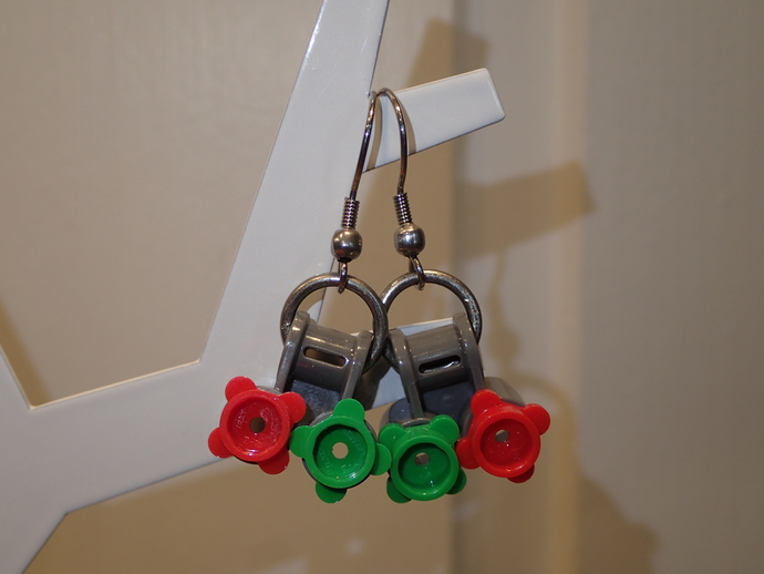 LEGO earrings - Dangling - Grey with green and red flowers