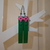 LEGO earrings - Dangling - Long green with pink flowers