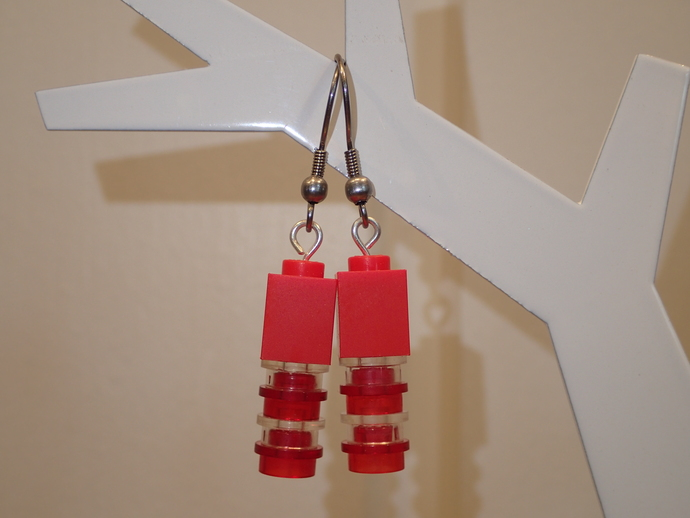 LEGO earrings - Dangling - Red and blank