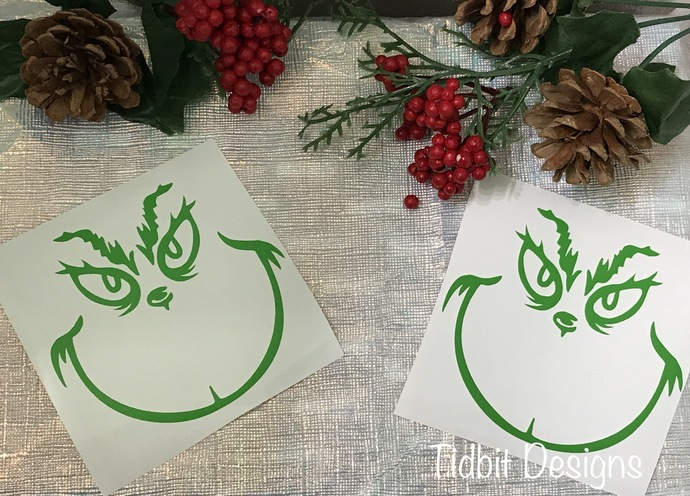 "Set of 10  3"" Grinch Face Vinyl Decal / Sticker - Lime Outline  / D.I.Y Project"