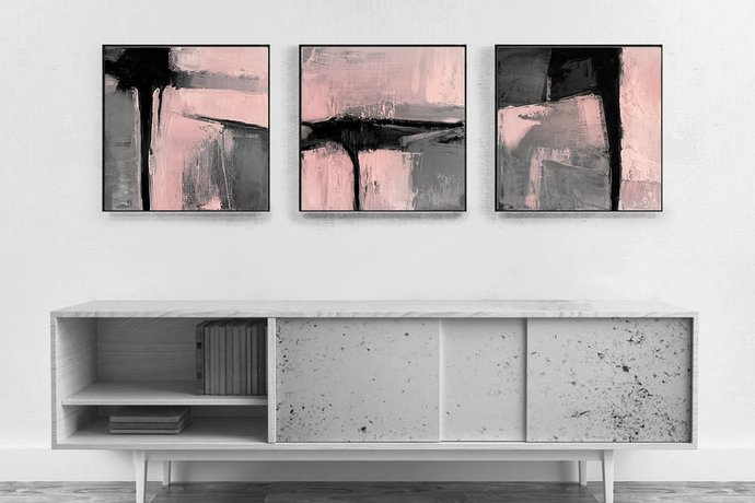 Blush Pink Wall Art, Set of 3 Prints, Printable Art, Minimalist Art Set,
