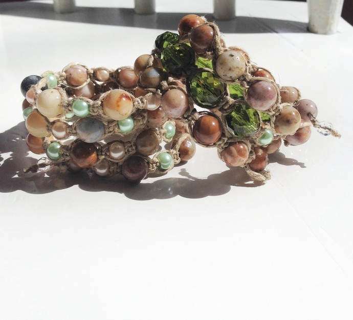 Natural Agate Knotted Wrap Bracelet