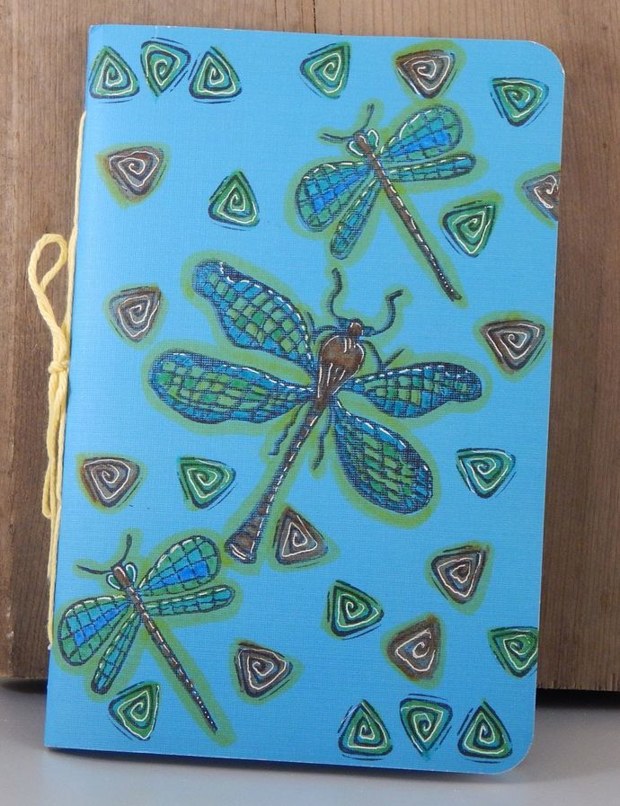 Dragonfly Notebook - Paper Journal - Hand-Stitched - Hand-Printed - Blank Book