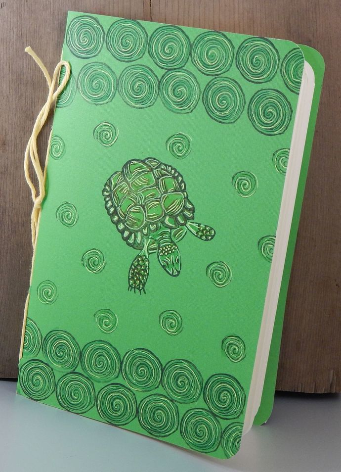 Tortoise Notebook - Blank Book - Hand-Printed - Hand-Stitched - Journal