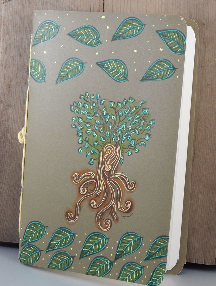 Tree Notebook - Blank Book - Hand-Stitched - Hand Printed- Journal