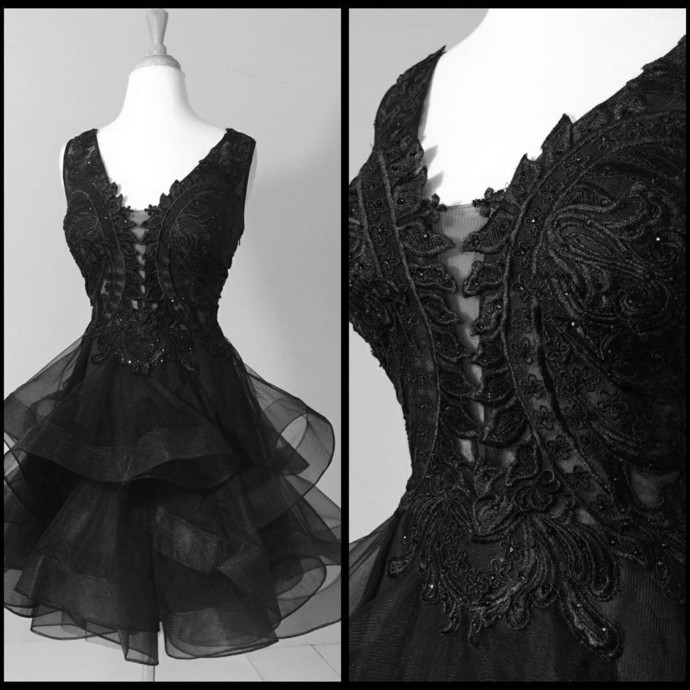 short prom dress, black prom dress,black homecoming dress,ruffles ball gowns