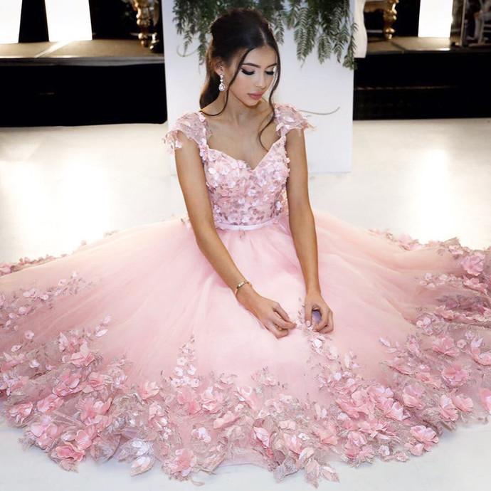 Pink Ball Gowns,Flower Dress,Cap Sleeves Homecoming Dress,Short Prom Dresses