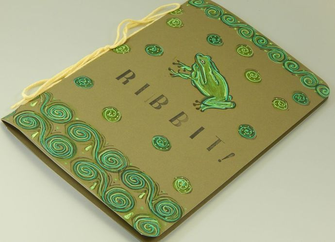 Ribbit! Frog Notebook - Paper Journal - Hand-Stitched - Hand-Printed - Blank