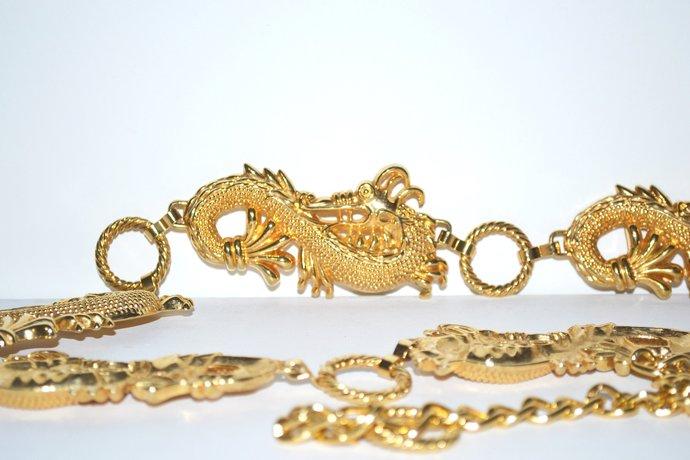 Mythical Sea Dragon Serpent Vintage Belt