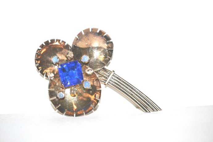 1940s Era Sterling Brooch Blue Clear & Opaline Rhinestones